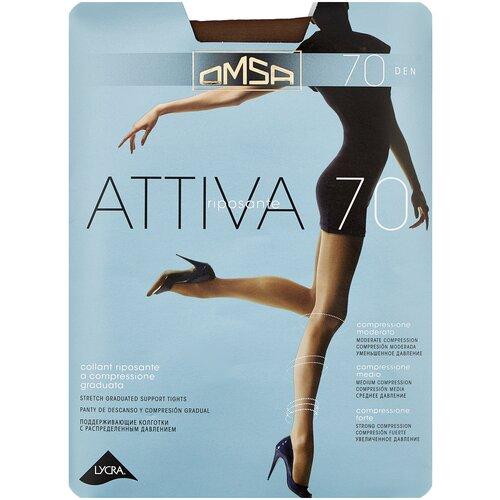 Колготки Omsa Attiva, 70 den, размер 5-XL, camoscio (коричневый) колготки omsa attiva 70 den размер 2 s camoscio коричневый