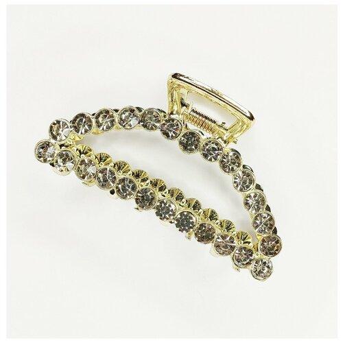 Купить Заколка- краб для волос, металлический в стразах, золотой, Fashion jewelry