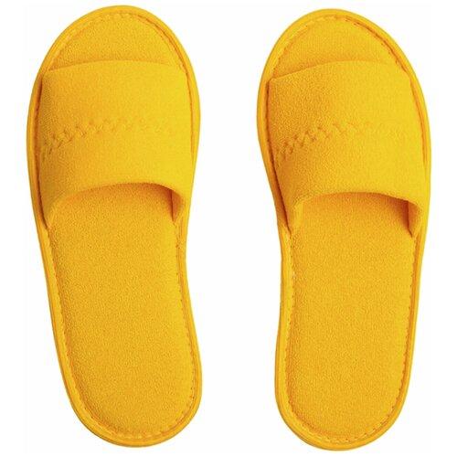 Тапочки женские Махра AMARO HOME Открытый нос (Желтый) 36-38