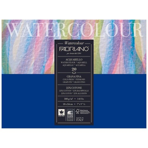 Фото - Блокнот-склейка для акварели Fabriano Watercolour 18х24 см 20 л 300г/м.кв 73611824 альбом для акварели fabriano watercolour 300 г м2 а6 10 5 х 14 8 см склейка с одной стороны 20 л