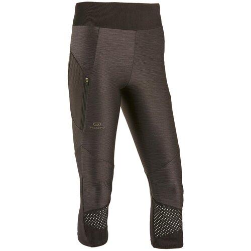 Тайтсы 3/4 для бега женские DRY+ FEEL черные, размер: XL / W35 L31, цвет: Черный/Черный KALENJI Х Декатлон