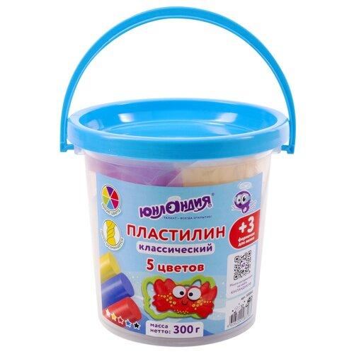 Купить Набор для лепки Юнландия Пластилин 5 цветов 300g 105860, Пластилин и масса для лепки