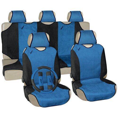 Чехлы автомобильные универс. для легковых авто Vettler ГЕПАРД вельвет, синие (оплетка на руль)