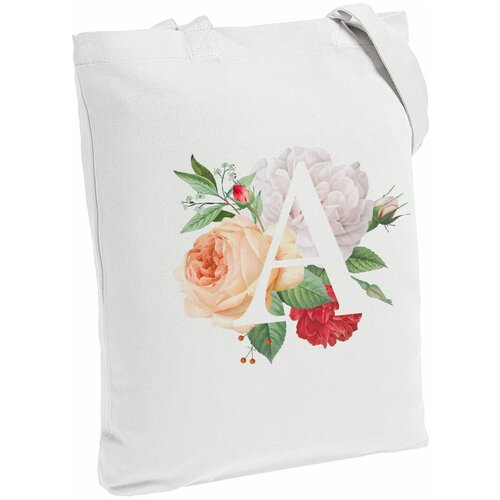 Сумка-шоппер «Цветочная азбука: А», молочно-белая