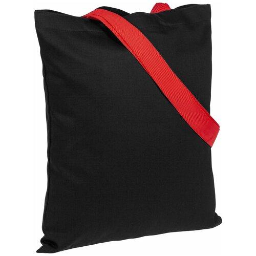 Сумка-шоппер BrighTone, черная с красными ручками