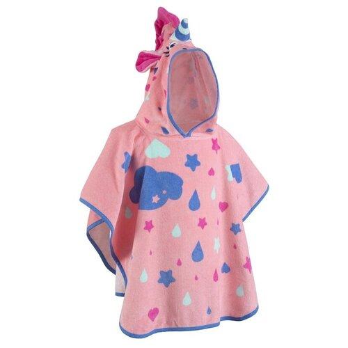 Пончо дет. с розовым капюшоном принт Единорог NABAIJI X Декатлон