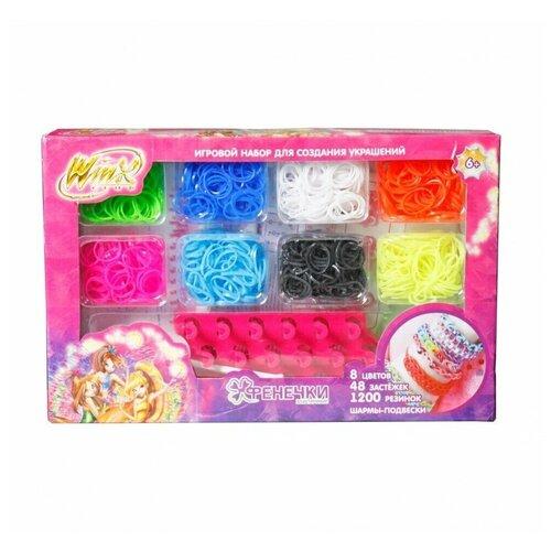 Купить Набор для создания украшений - Фенечки Winx, 8 цветов, 1200 резинок, Winx Club, Наборы для создания украшений