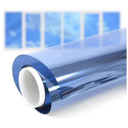 Пленка самоклеющаяся на окно солнцезащитная зеркальная Blue 15 - комплект на шестистворчатое окно