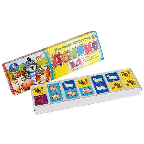 Настольная игра Умка Домино Простоквашино. Домашние животные 3 в 1