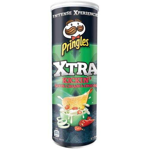 Чипсы Pringles Xtra картофельные Kickin' Sour Cream & Onion, 150 г чипсы pringles картофельные spring onion 165 г
