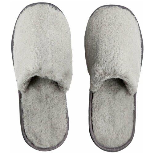 Тапочки женские Мех AMARO HOME Закрытый нос (Серый) 36-38