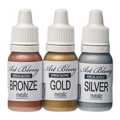 Набор алкогольных чернил metallic Gold, Silver, Bronze, Art Blong