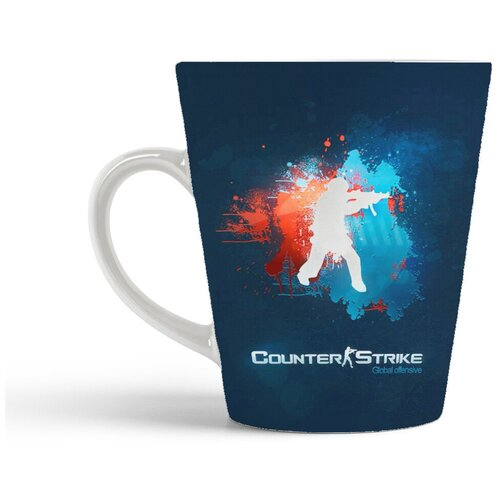 Кружка-латте CoolPodarok Контра Кс Кс Го 1 6 Соурс Counter Strike Cs Cs Go Cs 1 6 Source (ляпы краской на логотипе)