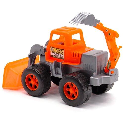 Детский экскаватор игрушка с подвижным ковшом MAXIMUS оранжевый / бульдозер игрушка / трактор игрушка / строительная техника игрушки / детская машина каталка для мальчиков / игрушка каталка / машинка детская каталка