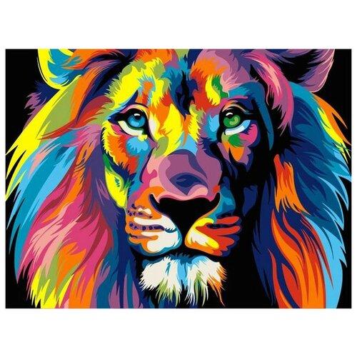 Купить Картина по номерам на холсте Paintboy Радужный лев , 40х50 см, GX-8999, Картины по номерам и контурам