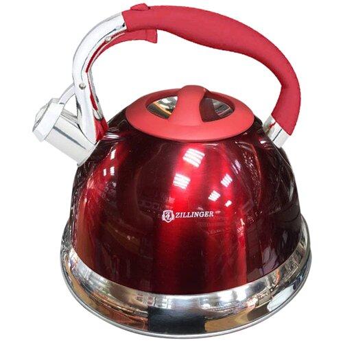 Чайник металлический со свистком ZILLINGER 2.7 л, красный / Универсальный чайник со свистком / Чайник для плиты / Чайник из нержавеющей стали / Чайник для газовой, индукционной плит со свистком