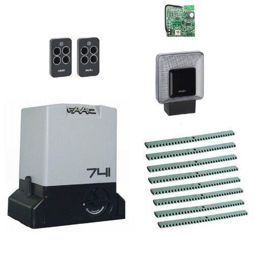 Автоматика для откатных ворот FAAC 741KIT-L8, комплект: привод, радиоприемник, 2 пульта, лампа, 8 реек автоматика для откатных ворот faac c720kit l8 комплект привод радиоприемник 2 пульта лампа 8 реек