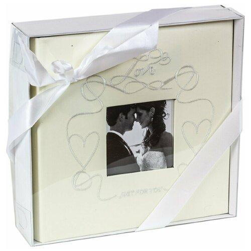 Фотоальбом свадебный «Сердечки с вышивкой» на 200 фото 10х15 см, кармашки, бежевый
