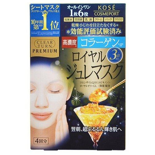KOSE Маска-желе для лица Clear Turn Premium (маточное молочко и коллаген) пачка, 4 шт.