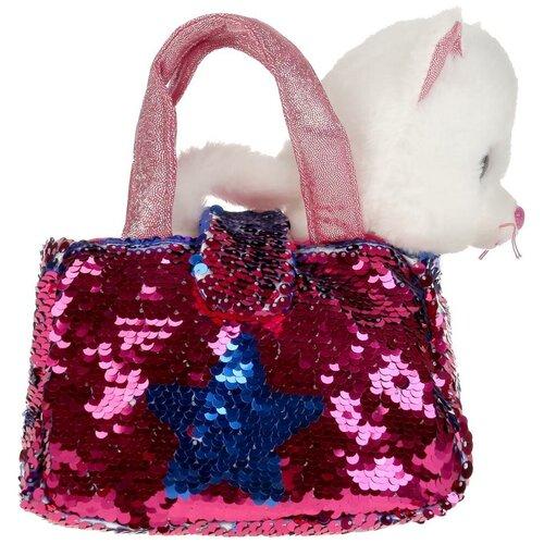 Мягкая игрушка Мой питомец Кошка, 17 см, в сумочке из пайеток