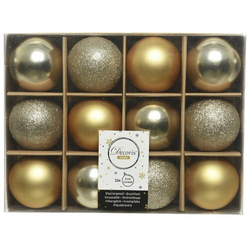 Фото - Набор пластиковых шаров New Year MIX золото/шампань, 60 мм, упаковка 12 шт., Kaemingk 023569 набор пластиковых шаров new year mix красный бордовый 60 мм упаковка 12 шт kaemingk 023573