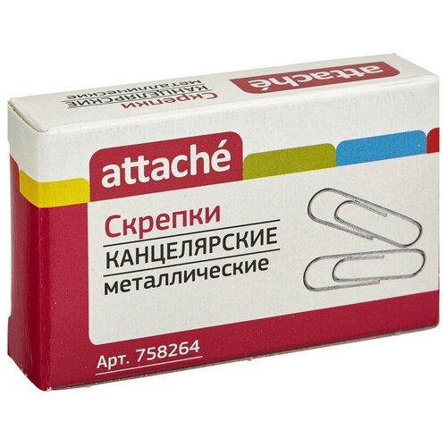 Купить Скрепки Attache, 28, овальная, 100 шт (серебристый), Скрепки, кнопки