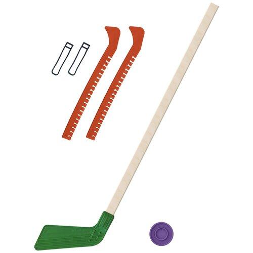 Набор зимний: Клюшка хоккейная зелёная 80 см.+шайба + Чехлы для коньков оранжевые, Задира-плюс