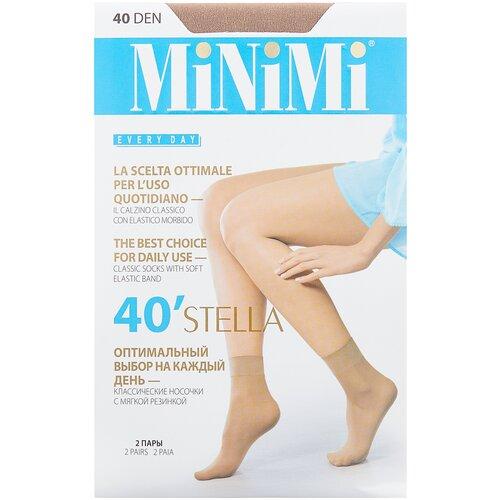 Капроновые носки MiNiMi Stella 40 Den, 2 пары, размер 0 (one size), caramello капроновые гольфы minimi elastic 40 den 2 пары размер 0 one size caramello