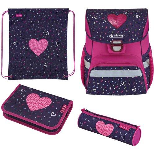 Купить Herlitz Ранец Loop Plus Tropical Heart с наполнением, розовый/синий, Рюкзаки, ранцы
