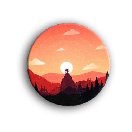 Значок деревянный PaperFox Закат. Пин бижутерия, брошь женская, детская для девочки. Подарок сувенир женщине, другу, парню, маме, подруге, на день рождения коллеге, девушке, любимому мужу, туристу в лес в палатку, поход в горы. Цвет: красный. 39 Х 39 мм.