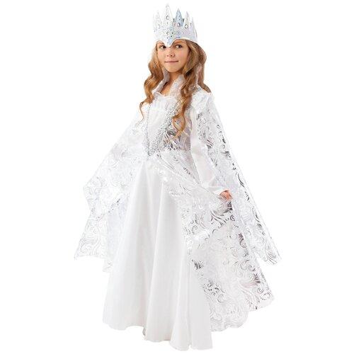 Купить Костюм пуговка Снежная королева (2026 к-18), белый, размер 140, Карнавальные костюмы