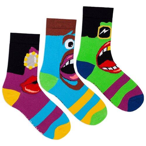 Комплект женских носков с принтом lunarable Глаза-рот, салатовые, черные, голубые, желтые