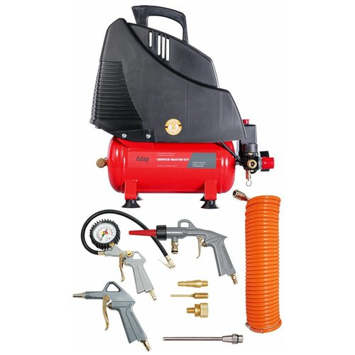 Фото - Компрессор безмасляный Fubag Service Master Kit + 6 предметов, 6 л, 1.1 кВт компрессор безмасляный fubag paint master kit 6 л 1 1 квт