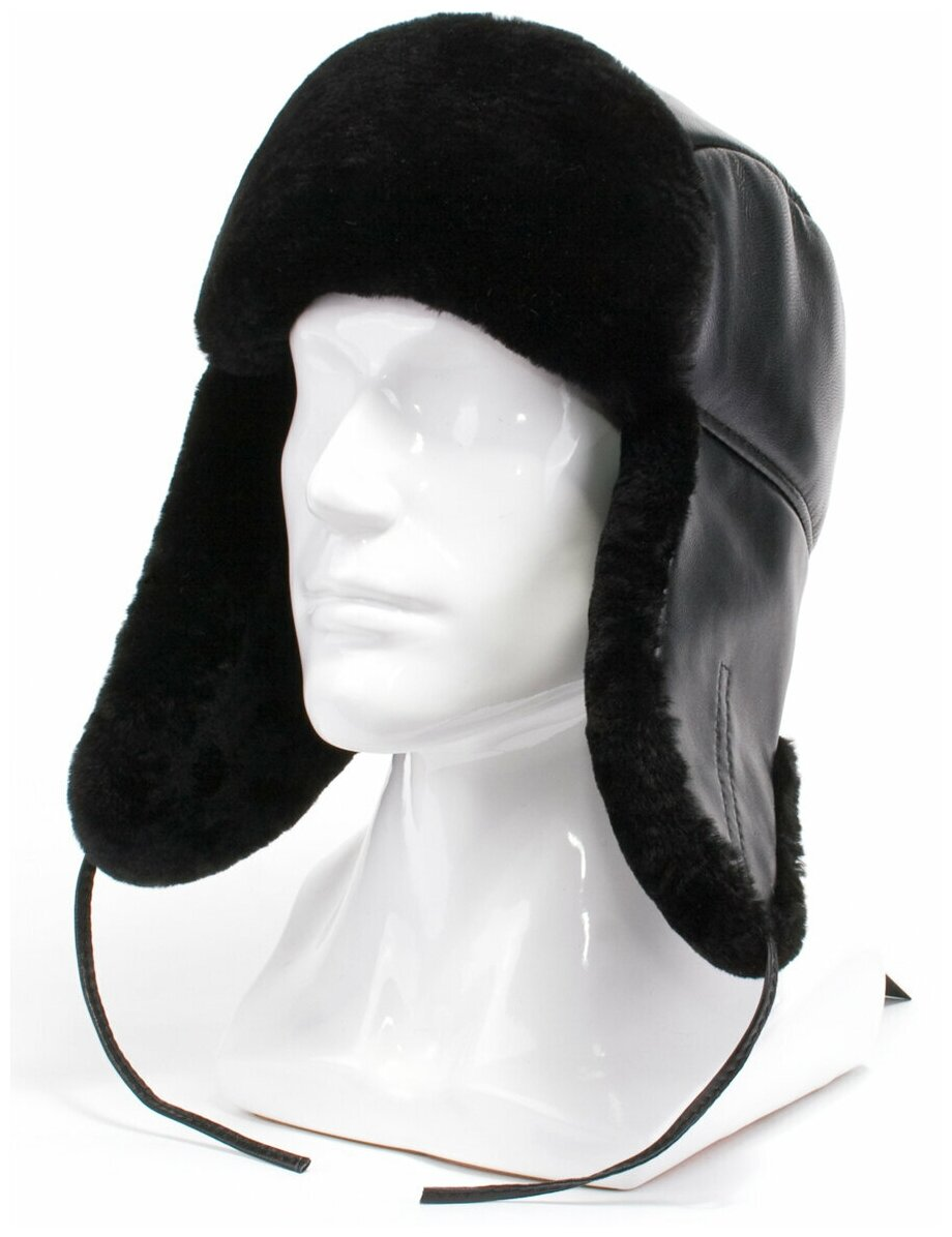 Ушанка Antar 170233 из натуральной кожи с овчиной, размер 60-61, черный — купить по выгодной цене на Яндекс.Маркете