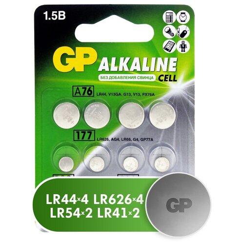 Фото - Батарейка GP Набор Alkaline Cell LR44, LR41, LR626, LR54, 12 шт. батарейка gp alkaline 192 g3 lr41 алкалиновая 1 шт в блистере отрывной блок 192 2cy 4891199015533