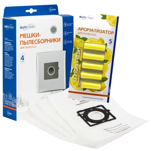 Мешки-пылесборники Euroclean синтетические 4 шт и ароматизатор