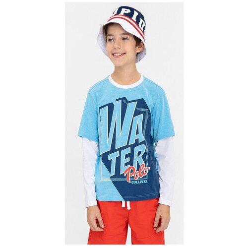 Купить Лонгслив Gulliver, размер 158, голубой, Футболки и майки