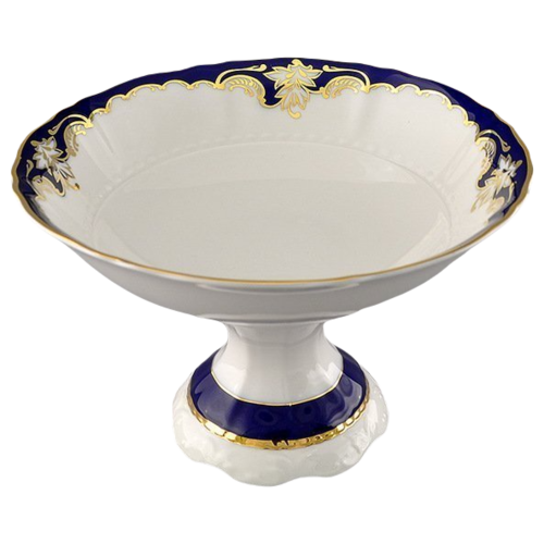 Фото - Ваза для фруктов Соната Темно-синяя окантовка с золотом, 23 см, Leander ваза для фруктов мэри энн темно синяя окантовка с цветами 23 см 03116154 0086 leander