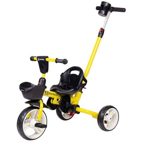 Купить Детский трехколесный велосипед с родительской ручкой Farfello S-1601 Желтый, Трехколесные велосипеды