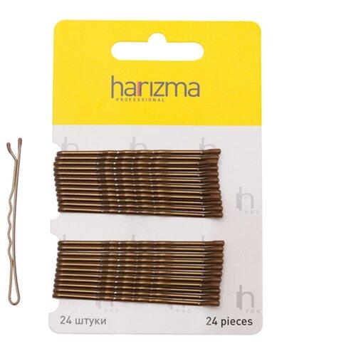 Купить Невидимки 60 мм волна 24 шт коричневые, harizma