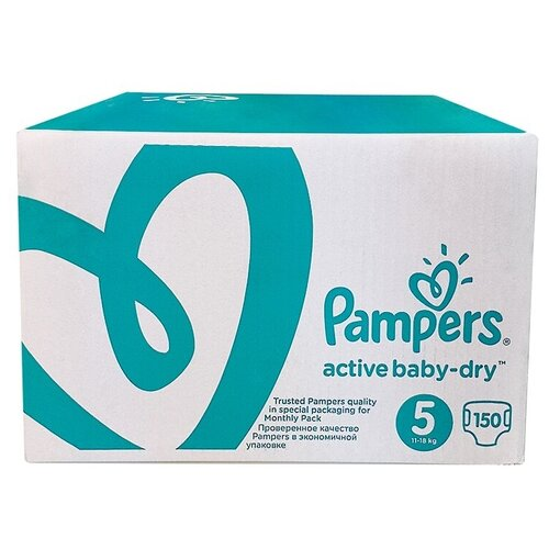 Фото - Pampers подгузники Active Baby-Dry 5 (11-18 кг), 150 шт. pampers подгузники new baby dry 1 2 5 кг 27 шт