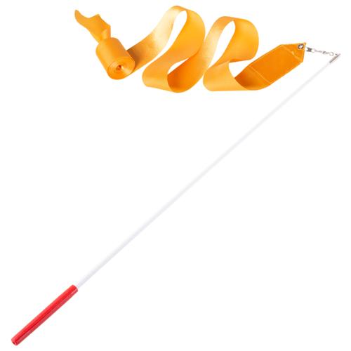 Фото - Палочка с лентой для художественной гимнастики Amely AGR-201 4м оранжевый палочка с лентой для художественной гимнастики larsen ab220 синий