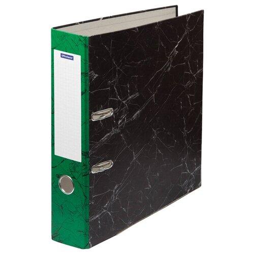 OfficeSpace Папка-регистратор с металлической окантовкой A4, мрамор, 70 мм зеленый/черный