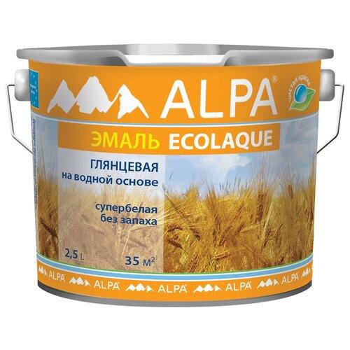 Эмаль акриловая (АК) Alpa Ecolaque глянцевая супербелая 2.5 л