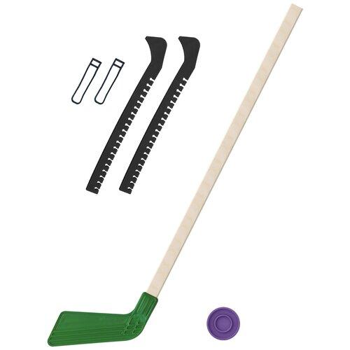 Набор зимний: Клюшка хоккейная зелёная 80 см.+шайба + Чехлы для коньков черные, Задира-плюс