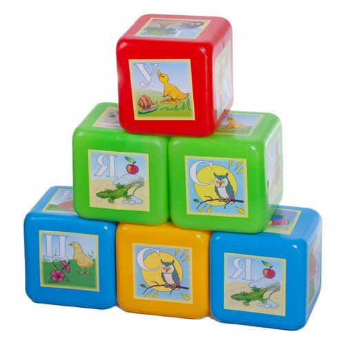 Кубики Юг-Пласт XL азбука 6 деталей пластик Юг-Пласт
