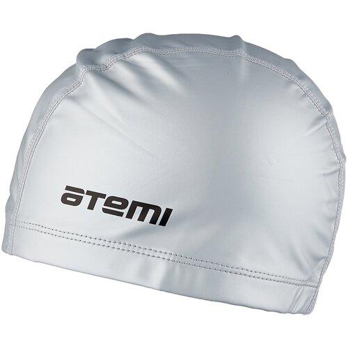 Фото - Шапочка для плавания ATEMI PU 12, серебро аксессуары для плавания atemi шапочка для плавания графика psc422