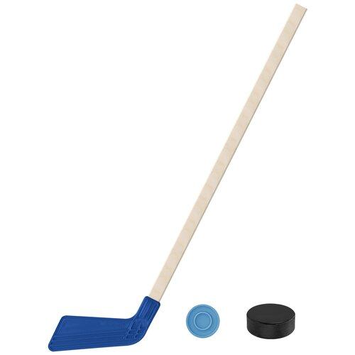 Набор зимний: Клюшка хоккейная синяя 80 см.+шайба + Шайба хоккейная 75 мм., Задира-плюс