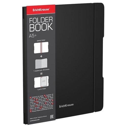 ErichKrause Упаковка тетрадей FolderBook Classic 48016 в съемной пластиковой обложке, 4 шт., клетка, 48 л., черный тетрадь общая ученическая в съемной пластиковой обложке erichkrause folderbook accent красный а5 48 листов клетка