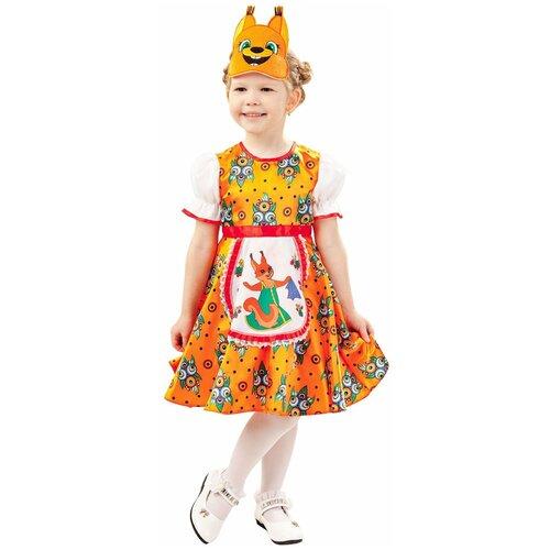 Купить Костюм пуговка Белочка Анфиса (1007 к-18), оранжевый, размер 116, Карнавальные костюмы
